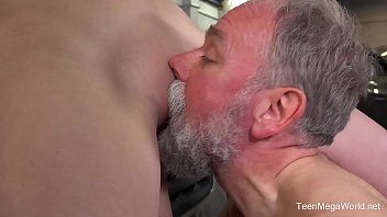 old guys vs young Sick old man sucking nipples