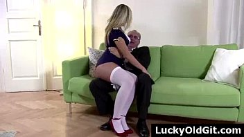 guy older blowing younger Yoga pink pants
